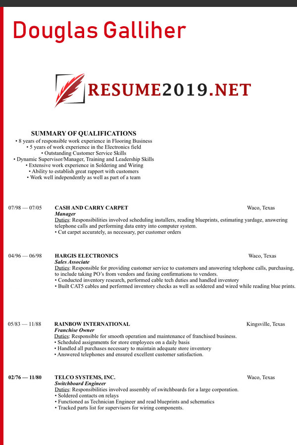 Chronological resume 2019 template